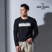Emilio Valentino范倫鐵諾機能舒適彈力長袖圓T (黑)