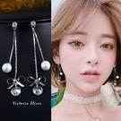 925純銀針  韓國優雅氣質 珍珠蝴蝶結水鑽 耳環-維多利亞181075