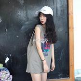 韓國ulzzang港味學生軟妹無袖上衣女BF潮寬鬆中長款背心t恤 俏腳丫