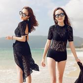 泳衣女保守大碼連體顯瘦黑色遮肚性感蕾絲三件套溫泉韓國小胸聚攏 年貨慶典 限時鉅惠