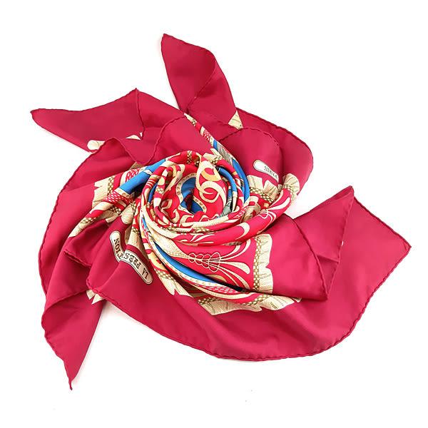 【奢華時尚】秒殺推薦!HERMES LA PRESENTATION 騎士印花桃紅色90公分絲質大披肩圍巾(九成新)#23444