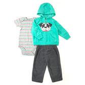 Carter s 長袖套裝 刷毛外套+短袖包屁衣+長褲三件組綠狗 男寶寶【CA121G765】
