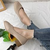 大碼豆豆鞋女奶奶鞋粗跟中跟春季百搭單鞋【時尚大衣櫥】