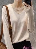 寬鬆針織衫秋冬新款V領內搭打底衫女韓版慵懶寬鬆顯瘦大碼針織衫潮薄款毛衣 JUST M