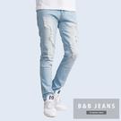 美式質感淺藍刷白牛仔褲...