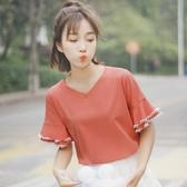 喇叭袖T恤2020新款夏裝短袖清新純色荷葉邊花瓣袖T恤女生V領上衣女潮【全館上新】