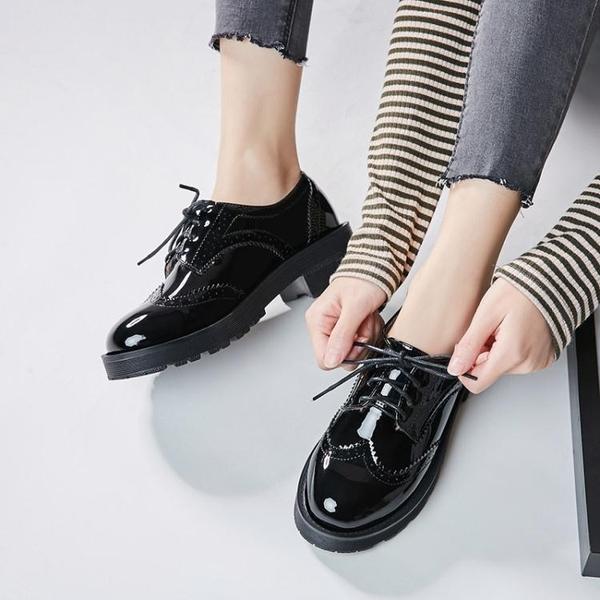 女牛津鞋 韓版女鞋子 布洛克女厚底春季新款百搭學生粗跟單鞋加絨女鞋潮小皮鞋《小師妹》sm3550