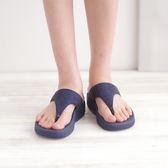 夾腳拖 厚底涼鞋 藍 夏季 女款真皮涼鞋《SV6983》快樂生活網