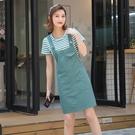 牛仔背帶裙女春秋2021新款夏時尚洋氣減齡連衣裙小個子兩件套裝裙「時尚彩紅屋」