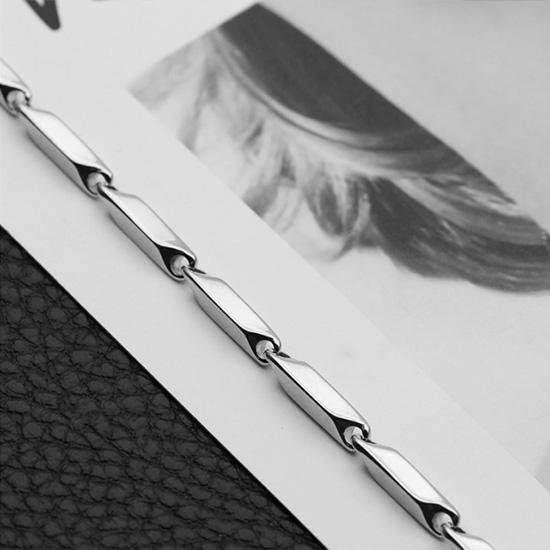 《 QBOX 》FASHION 飾品【NXL0045】個性百搭瓜子菱形拋光面銀色鈦鋼項鍊子/鋼鍊條