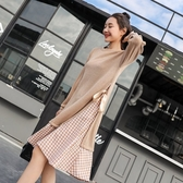 初心 格紋洋裝 【D5819】 假二件 長袖 長洋裝 格子紋 假兩件 魚尾裙