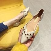 單鞋女 款百搭尖頭淺口平底鞋復古豆豆鞋潮