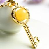 項鍊 925純銀 琥珀墜飾-鑰匙造型情人節生日禮物女飾品73fz43【時尚巴黎】
