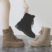 短靴 馬丁靴女2019新款秋冬英倫風平底繫帶短靴百搭學生高筒兩穿女靴子 3色35-40