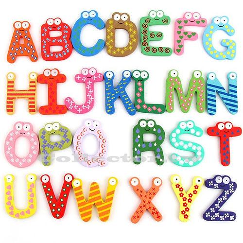 木質英文字母磁貼26個裝 兒童早教玩具