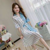 VK精品服飾 韓國風氣質時尚襯衫條紋拼接拼色短袖洋裝