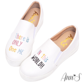 Ann'S升級超舒適英文刺繡內增高懶人鞋-白
