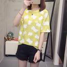 圓領大碼百搭寬鬆卡通印花T恤(黃色L~4...