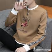 新款男士長袖t恤圓領春裝上衣服青年帥氣潮流衛衣寬鬆秋衣打底衫  圖拉斯3C百貨