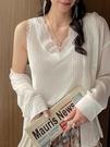 西裝內搭 背心女2021春秋新款蕾絲西裝內搭v領針織小吊帶白色冰絲打底上衣 韓國時尚週