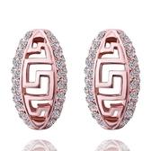 耳環 純銀鍍18K金鑲鑽-橢圓鏤空生日情人節禮物女飾品73cg117【時尚巴黎】