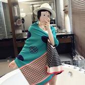 羊毛絨長披肩-歐美時尚英倫格紋女圍巾4色73hy16【時尚巴黎】