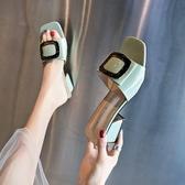 高跟拖鞋女外穿金屬扣韓版氣質涼拖時尚百搭粗跟一字拖  伊衫風尚