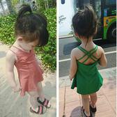 正韓女童裝夏天裙子新款兒童海邊背心裙V領吊帶度假連衣裙旅行裙