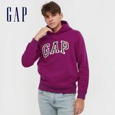 Gap男裝 Logo撞色字母連帽休閒上衣 618862-牡丹紅