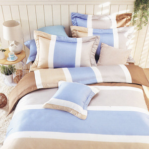 BUTTERFLY-純棉條紋三件式兩用被床包組-平凡線-咖(單人加大)