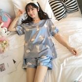 睡衣女夏季冰絲薄款兩件套裝夏天冰絲短袖韓版可愛學生ins家居服「艾瑞斯居家生活」