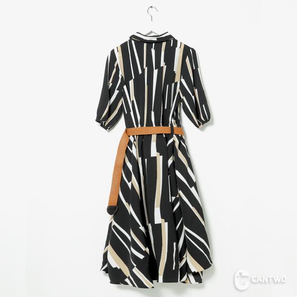 CANTWO開襟修身彩條洋裝-共兩色