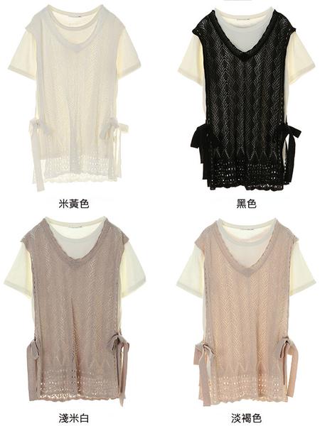 「Hot item」【SET ITEM】鏤空綁帶V領背心+素面短袖T恤 - E hyphen world gallery