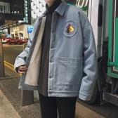 棉衣外套羊羔毛絨棉衣男冬季新款加厚工裝棉服加絨外套潮牌情侶裝棉襖冬天