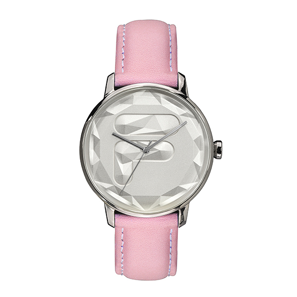 【FILA 斐樂】幾何切面LOGO設計腕錶-少女粉/38-184-001/台灣總代理公司貨享兩年保固