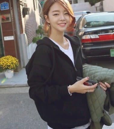 EASON SHOP(GU3423)連帽長袖外套圓領拉鍊素色純色女上衣黑色秋冬裝韓寬鬆開衫閨蜜裝挺版帽T