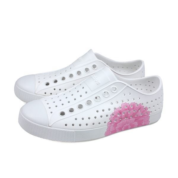 native JEFFERSON PRINT 懶人鞋 洞洞鞋 白/粉紅花 男女鞋 11100101-8966 no091