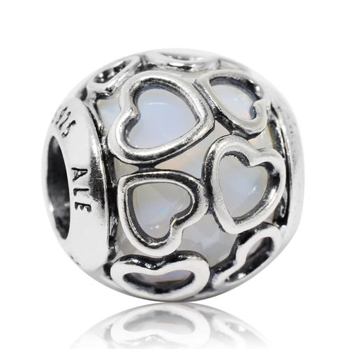 Pandora 潘朵拉 白色水晶纏繞愛心 純銀墜飾 串珠