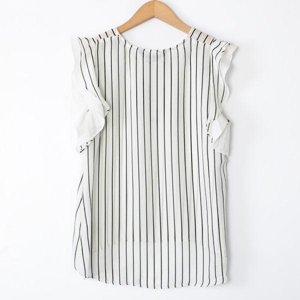 【MASTINA】直條紋波浪短袖上衣-白 好康優惠