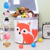 帆布動物拼貼大容量收納玩具桶 收納桶 衣物收納桶