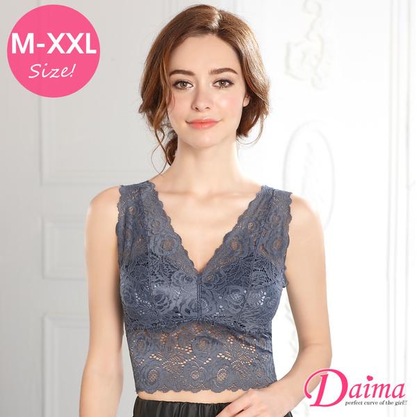 玫瑰無鋼圈(M-XXL)免罩設計美背蕾絲款_灰色【Daima黛瑪】