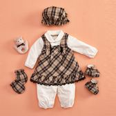 【金安德森】春夏彌月禮盒-二件式經典格背心裙+長袖兔裝-卡色