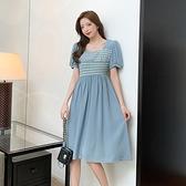 氣質洋裝連身裙方領泡泡袖連身裙女中長款格子拼色小眾設計長裙8839NE442快時尚