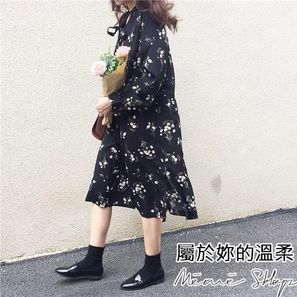 孕婦裝 MIMI別走【P52760】浪漫小舞曲 氣質綁帶碎花雪紡連衣裙 美感好搭
