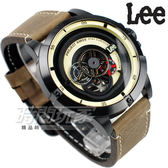 Lee 透視 自動上鍊機械錶 皮帶 男錶 黃黑色x墨綠 LES-M55DBL5-91 鏤空機械錶