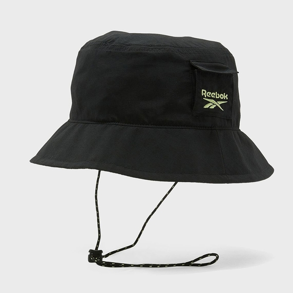 Reebok CLASSICS 帽子 漁夫帽 休閒 小口袋 可調式止扣下巴帶 黑【運動世界】GN7730