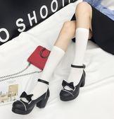 洛麗塔lolita高跟皮鞋洋裝圓頭蝴蝶結單鞋【聚寶屋】