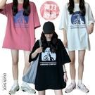 EASON SHOP(GQ0858)韓版簡約卡通塗鴉印花落肩寬鬆寬版圓領短袖五分袖素色棉T恤女上衣服打底大碼外搭