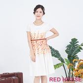 【RED HOUSE 蕾赫斯】花朵綁帶洋裝(橘色)