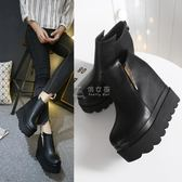 踝靴 2018秋冬韓版女鞋超高跟坡跟高防水臺厚底鬆糕內增高百搭短靴單鞋 俏女孩
